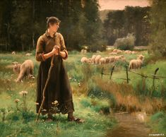 Jules Dupré : Peasant Girl with Sheep