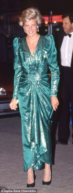 Disco delight: Diana wears the perennially trusted Walker at a 1990 film premiere...