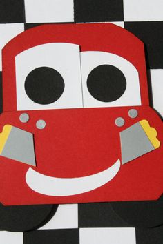 Lightning McQueen Handmade Card Cars by HootandTootsLoot on Etsy