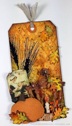 Vintage Muse Designs with an autumn tag using Tim Holtz, Ranger, Sizzix and Stamper's Anonymous products; Dec 2014