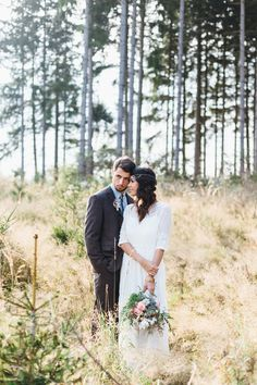 Storm + Marius mountain wedding rustic chic vintage love sunset nature bride groom
