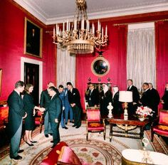 Jacqueline Kennedy and her brother-in-law, Edward Kennedy, greet world leaders in the Red Room of the White House, after JFK's funeral on November 1963 John Kennedy, Ted Kennedy, Jacqueline Kennedy Onassis, Jfk Funeral, Rosemary Kennedy, Funeral Reception, Days In November, American First Ladies, Kennedy Assassination