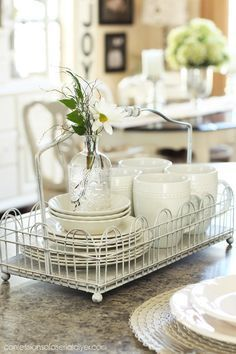 How to Add Farmhouse Charm to Your Kitchen - easy and inexpensive ways to update your kitchen, using beadboard, white paint and dishes, etc. - Confessions of a Serial Do-it-Yourselfer