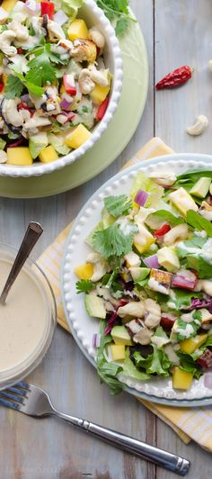 Delicious & Protein Rich Chicken Salad Recipes -Thai Cashew Chicken and Mango Salad Healthy Salads, Healthy Eating, Healthy Recipes, Asian Recipes, Healthy Food, Savory Salads, Healthy Habits, Delicious Recipes, Diet Recipes