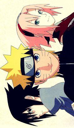 Naruto, Sakura y Sasuke Anime Naruto, Naruto Sasuke Sakura, Naruto Cute, Otaku Anime, Naruto Drawings, Naruto Sketch, Naruto Wallpaper, Wallpaper Naruto Shippuden, Naruto Painting