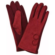 Burgundy Vegan Suede Classic Two Button Fur Lined Gloves (£16) ❤ liked on Polyvore featuring accessories, gloves, burgundy, women, vintage gloves, fur lined gloves, suede leather gloves, synthetic leather gloves and burgundy gloves