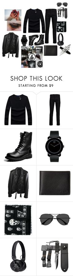"""""""Intrepidly Skookum"""" by moon-me-stars ❤ liked on Polyvore featuring Jack & Jones, Movado, BLK DNM, Coach, Alexander McQueen, EyeBuyDirect.com, Master & Dynamic, men's fashion and menswear"""