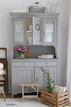 Shabby chic cabinet, Antique kitchen cabinet, Buffet