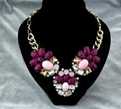 Pre Order Only -Susie Purple and Pink Sparkle Statement Necklace DUE DATE ARRIVAL  23rd May    Size Approx : 23cm Chain   Acrylic / Gem £12