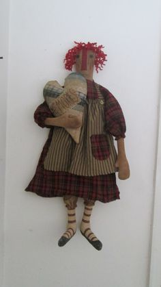 Primitive Raggedy with Quilt Pillow by Bettesbabies on Etsy