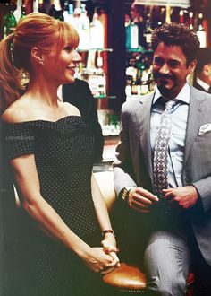 """Robert Downey Jr. and Gwyneth Paltrow as Tony Stark and Pepper Potts in """"Iron Man 2."""" Favorite couple ever."""