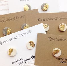 Hand Crafted Round Gold Leaf Polymer Clay Studs roundaboutbotanicals.com