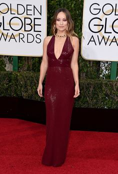 Olivia Wilde in a Michael Kors Collection dress and Bulgari jewelry @ the 2016 Golden Globes