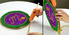 diy mardi gras centerpieces | Plate, DIY, Mardi Gras Beads, Bead Upcycle, Mardi Gras Decorations ...
