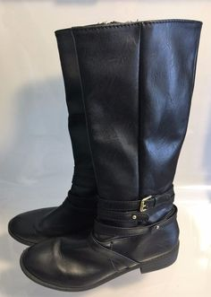 Rocker Chic Versatile Low-heeled Black Brash Knee High Boots - 9.5M #Brash #KneeHighBoots #Casual