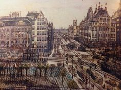 Willem van Genk, Amsterdam Damrak, drawing mixed media, part. coll. via Folk Art Museum