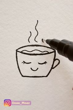How to draw a cute coffee cup - Art Sketches Ideas 2020 Cute Easy Drawings, Art Drawings For Kids, Pencil Art Drawings, Kawaii Drawings, Art Drawings Sketches, Doodle Drawings, Doodle Art, How To Draw Doodle, Simple Doodles Drawings