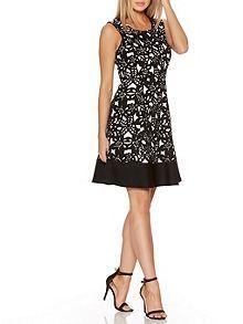 Cream And Black Flower Skater Dress