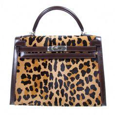 Hermes Kelly 32cm bag in Custom Special Order Leopard Rpint  4822db4495