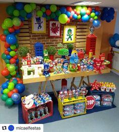Image may contain: 1 person, food Pjmask Party, Mario Birthday Party, 6th Birthday Parties, Third Birthday, Party Time, Decoracion Pj Mask, Pj Masks Balloons, Festa Pj Masks, Batman Gifts