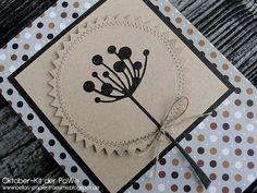 handmade card ... Memory Box die cut flower on kraft ... sewing ... layers ,,, neutral colors ... lovely ...