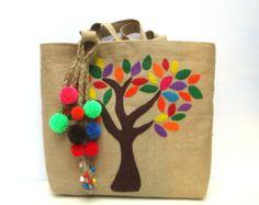 Tribal bordado yute bolso de mano totalmente artesanal tote y