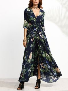 Next Post Previous Post Navy Floral Print Half Sleeve Button Front Dress. More colors available! Mode Gipsy, Boho Fashion, Fashion Dresses, Womens Fashion, Fashion Spring, Chic Outfits, Pretty Outfits, Boho Dress, Dress Skirt