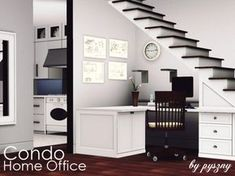 Condo Home Office is for those sims who like to work in open space. It simply use of space in small houses where every inch is really important. Why you have to add another room to work when u can. Sims 4 Cc Furniture, Office Furniture, Barbie Furniture, Furniture Legs, Garden Furniture, Sims 3 Cc Finds, Sims 4 Bedroom, Attic Bedrooms, Muebles Sims 4 Cc