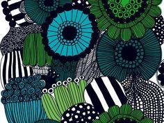 Tissu imprimé en coton à motif floral SIIRTOLAPUUTARHA by Marimekko   design Maija Louekari