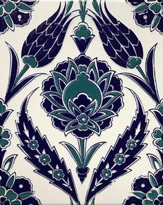 Set of 10 Iznik Blue Floral Pattern Turkish Ceramic Tiles - New Deko Sites Turkish Tiles, Turkish Art, Tile Patterns, Pattern Art, Zentangle, Ceramic Tile Art, Turkish Pattern, Blue Tulips, Rainbow Painting