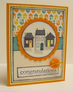 New home/moving card. Stampin' Up! Welcome Home Cards, New Home Cards, Housewarming Card, Congratulations Card, Scrapbook Cards, Scrapbooking, Paper Cards, Cool Cards, Creative Cards