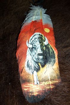 Painted Turkey Feathers Hand Painted Buffalo On Feather