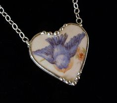 Vintage Homer Laughlin bluebird china Broken china jewelry necklace by Laura Beth Love Dishfunctional Designs