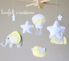 Baby Crib Mobile  Baby Mobile  Yellow and Gray by LoveFeltXoXo, $120.00