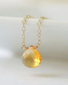 Push Present November Baby, Citrine Necklace, Delicate Dainty Yellow Gem, November Birthstone Jewelry, 16 Inch