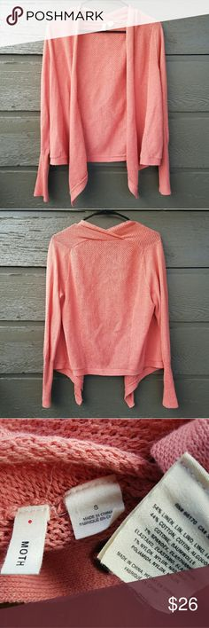 Anthropologie MOTH Coral Knit Cardigan Excellent condition  Feel free to ask me any additional questions! Reasonable offers  are considered. Happy Poshing!! No trades, or modeling Anthropologie Sweaters Cardigans