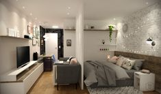 Projeto do escritório BTliê Arquitetura!  Kit Net Água Fria!  Sala e quarto integrado com muito charme e bom gosto! Feng Shui, Mini Loft, Lofts, Furniture, Home Decor, Pure Beauty, Nice, Bedroom, Arquitetura