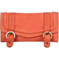 Coral Leather Double Buckle Purse ($50) ❤ liked on Polyvore featuring bags, handbags, clutches, bolsas, purses, accessories, women, red purse, coral leather purse and leather flap purse