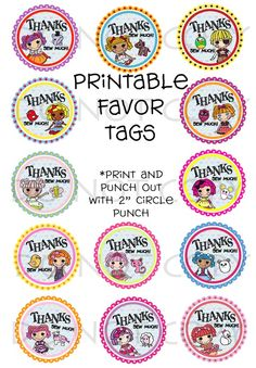 Favor tags with the Lala dolls on them