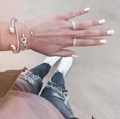 Stack on our layering day time rings with our Rose Gold Evil Eye Bracelets for the perfect arm candy combination #BlingJewelry