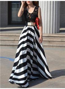#Stripe Lace Patchwork #Women's Maxi Dress (Plus Size Available)
