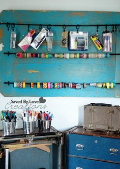 DIY Craft Storage from Repurposed Vintage Steamer trunk and reclaimed wood/cafe rod washi tape storage @savedbyloves