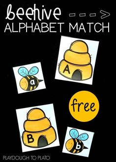 Beehive Alphabet Match Activity for ages 3 to Learning the alphabet is exciting, but sometimes it can be a challenge for kids. We are always looking for fun, new ways to work on our letters and keep us engaged, and this game was just the trick! Preschool Literacy, Preschool Printables, Kindergarten Classroom, Alphabet Games, Learning The Alphabet, Learning Spanish, Bee Activities, Alphabet Activities, Letter Matching