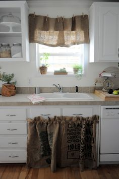Burlap sink skirt and curtain