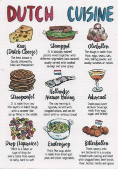 Gastronomy Food, Amsterdam Food, Around The World Food, European Cuisine, Protein Shake Recipes, Different Vegetables, Food Facts, Travelogue, Food Illustrations