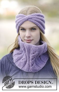 "Warm Lavender - Set consists of: Knitted DROPS head band and neck warmer with rib in ""Eskimo"". - Free pattern by DROPS Design Fall Knitting Patterns, Knitting Designs, Crochet Patterns, Scarf Patterns, Knitting Tutorials, Finger Knitting, Loom Knitting, Free Knitting, Crochet Stitches"