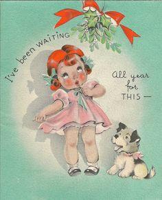 Vintage christmas card. Little girl and dog