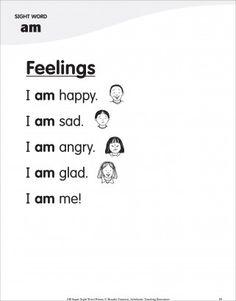 Feelings (Sight Word 'am'): Super Sight Words Poem