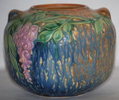 Roseville Pottery Wisteria Blue Vase 632-5 from Just Art Pottery