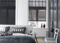 something like this, roller blinds, for the smaller windows within rooms